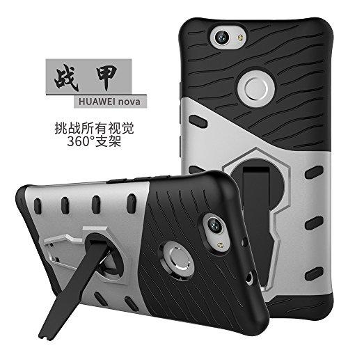 YHUISEN Huawei Nova Case, Hybrid Tough Rugged Dual Layer Rüstung Schild Schützende Shockproof mit 360 Grad Einstellung Kickstand Case Cover für Huawei Nova ( Color : Silver ) Silver