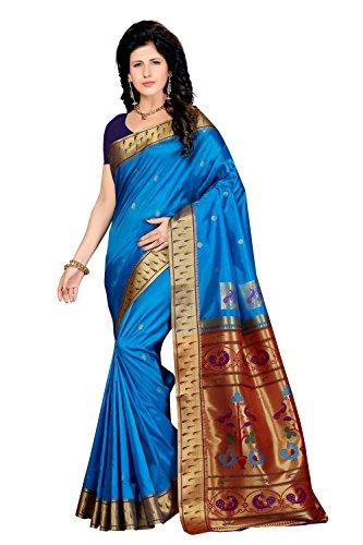 Rani Saahiba Women's Art Silk Zari Border Paithani Style Saree( Skr3207_Blue -...