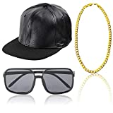 Beelittle 80 / 90s Rapper Hip Hop Costume Accessori Set Regolabile Solido Tesa Piatta Snapback Berretto da Baseball, Rapper DJ Occhiali da Sole e Catena placcata Oro (D)