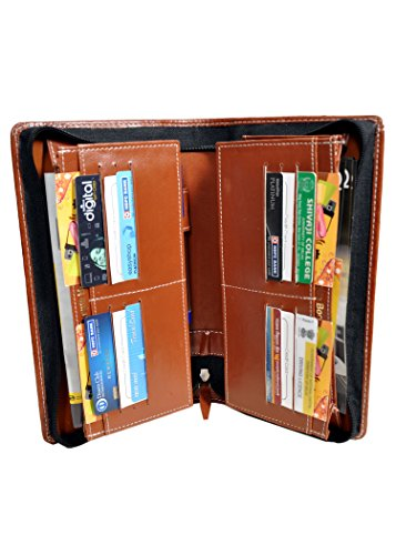 Pareek Brown Expanding Cheque Book Holder Travelling Document Bag(Set Of 12),Brown For Rs. 575
