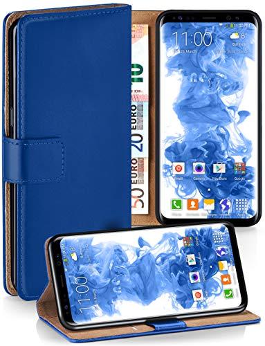 moex Booklet mit Flip Funktion [360 Grad Voll-Schutz] für Samsung Galaxy S8 | Geldfach und Kartenfach + Stand-Funktion und Magnet-Verschluss, Dunkel-Blau
