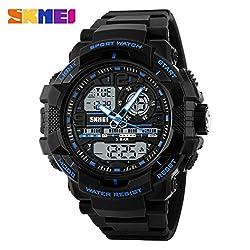 Skmei Dual time zone analog digital wrist watch for men & Women - 1164 -Blue