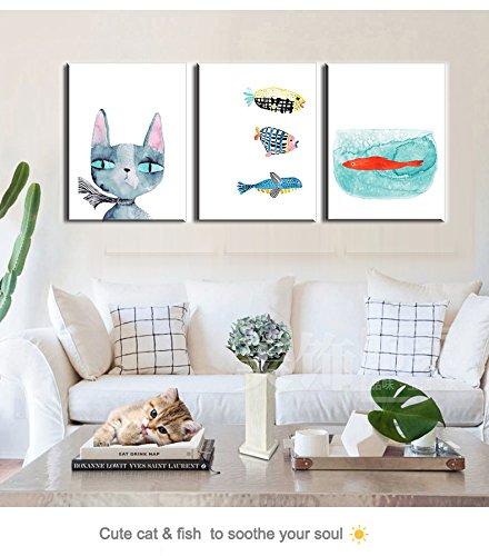 Wasserdichte Wandbilder, PIY Painting Wasserfarbe Tiere Katzen / Fisch Leinwandbild Wasserdicht, Fotoleinwand Bilder und Kunstdrucke auf Leinwand Wanddeko für Wohnzimmer Küche Schlafzimmer Geburtstagsgeschenk 30x 40cm 3set (Fisch-rahmen)