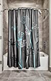 InterDesign Thistle Duschvorhang mit Blumen-Motiv, Stoff, grau/blau, 183,0 cm x 183,0 cm