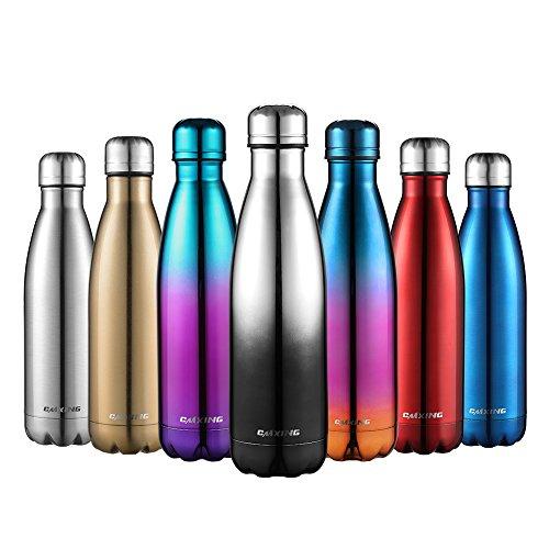 Cmxing Doppelwandige Thermosflasche 500 mL / 750 mL mit Tasche BPA-Frei Edelstahl Trinkflasche Vakuum Isolierflasche Sportflasche für Outdoor-Sport Camping Mountainbike (Silber+Schwarz, 500 ml)