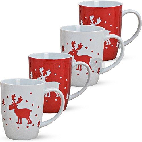 Natale tazze tazza Renna rosso bianco 4 pezzi per 11 cm porcellana alogene vino tazze caffè motivi Natale decorazione