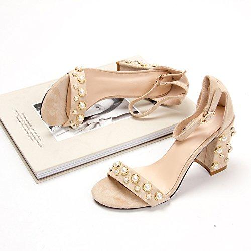 fan4zame im Sommer Damen Schuhe Schnalle mit Leder ein Wort mit dicken gefolgt von hochhackigen Sandalen Cool bequem atmungsaktiv Sandalen 37 Beige (Pearl with8cm
