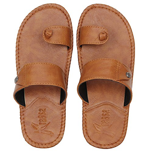 Kraasa Men's Bronze Synthetic Slippers - 8 UK