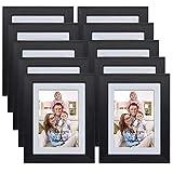 Giftgarden 10er Bilderrahmen Set MIT Passepartout 9x13, OHNE Passepartout 10x15, schwarz