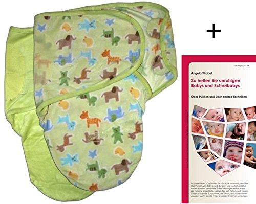 SwaddleMe M2G+MP2GZ, 2 Stück: Neugeborenes/Mikrofleece/grün und grüner Zoo - Ganzkörper-Pucksack ist ideal bei Schreibabys. Small.