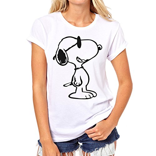 Charlie Brown Logo Snoopy Is Cool Black And White Background Damen T-Shirt Weiß