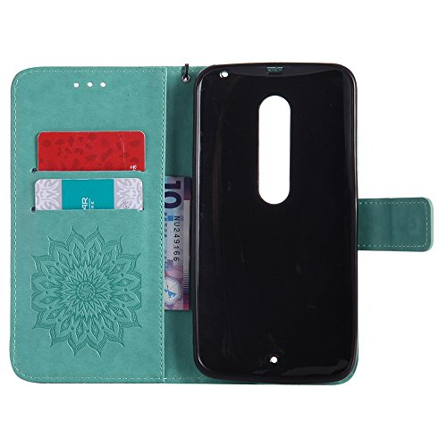 Für Moto X Style Case, Prägen Sonnenblumen Magnetic Pattern Premium Soft PU Leder Brieftasche Stand Case Cover mit Lanyard & Halter & Card Slots ( Color : Blue ) Green