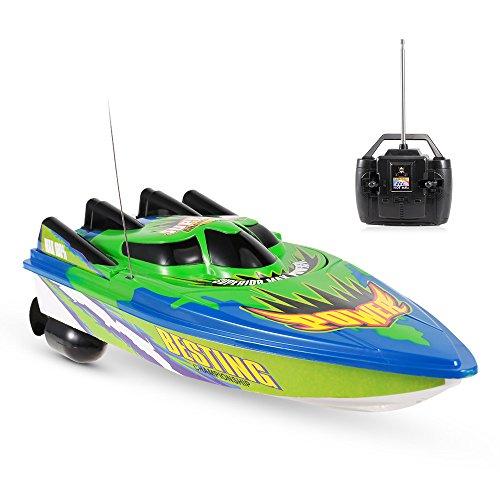 Goolsky Radio Control Racing Boat 20km / h Nave elettrica RC Barca Telecomandata per lago Piscina bambini Regalo Toy (Senza batteria)