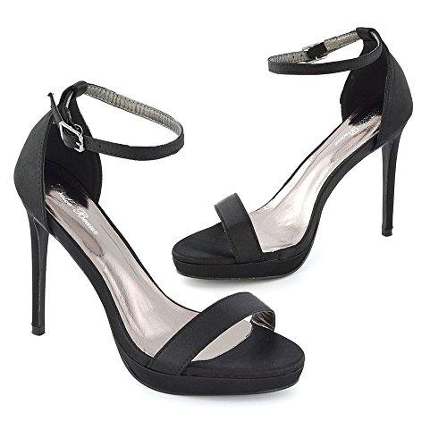ESSEX GLAM Donna Tacco Basso Peep Toe Stiletto Satinato Cinturino alla Caviglia Sandalo Nero Satinato