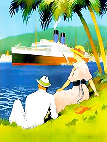 PAINTINGS GROUP PORTRAIT MAN WOMAN SHIP OCEAN LINER PALM TREE TROPIC SEA RELAX 30X40 CMS FINE ART PRINT ART POSTER