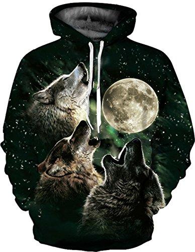 3D Druck Sweatshirts Weihnachten Pullover mit Große Tasche Hemd Kapuzenpullover Langarm Top Jumper Shirt (XX-Large/3XL-Large, Wolf Black) (Lustige Holloween)