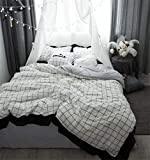 Rosseae Bettwäsche-Set, 100% Baumwolle Plaid Bettwäsche-Sets/Bettbezug/Bettlaken/Kissenbezüge Bettbezug Luxus Nachtwäsche, 5-6.6ft (Farbe : Weiß, Größe : Large)