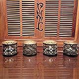 Designer Metal Tea Light Votive (Set Of 4) - Use For Home Decor, Gift, Diwali, Decorative Diyas, Yoga, Spa