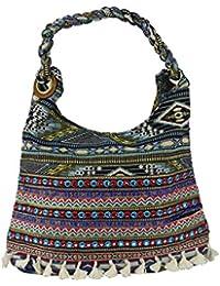 Ibiza Ethno Style Tasche mit Stickerei, Pailetten und Bommel - Maße ohne Henkel 40 x 32 x 13 cm