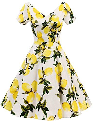 Gardenwed Damen Vintage 1950er V-Ausschnitt Rockabilly Kleid Partykleid Retro CocktailKleid Lemon...