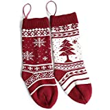 """2 Pack 18"""" Large Knit Knitted Christmas Stockings, Classic Xmas Tree/Snowflake, Rustic Personalized Stocking Decorations For Family Holiday Season Décor"""