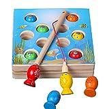 Puzzle Angeln Spielzeug, TechCode Kinder Holzspielzeug Magnetische Puzzle Spiele Angeln Spielzeug für Kinder Tisch Spiel Kinder 3D Fisch Baby Kinder Spielzeug Lernspielzeug Sicheres Spielzeug und Haltbares Geschenk Spielzeug Fische Modelle für Kleinkinder und Kinder