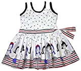 White Cotton Dress with Dolls Print Available in 6 months to 13 Years Girls from Unnati Clothings