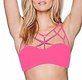 YiZYiF Damen Strap Vest Gepolsterter Push Up Sport BH Bustier Stretch Sports Bra Yoga Fitness Training Top Strand Tank Hot Pink XL