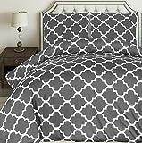 Utopia Bedding Bettwäsche-Set - Mikrofaser Bettbezug und Kissenbezuge - (200 x 200 cm, Grau)