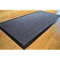 Abaseen GREY HEAVY DUTY NON SLIP RUBBER BARRIER RUG SMALL MEDIUM EXTRA LARGE DOORMAT LONG NARROW HALL RUNNER **6 SIZES** (120 X 180 CMS)