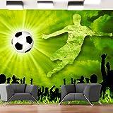 murando - Fototapete Fussball 300x210 cm - Vlies Tapete - Moderne Wanddeko - Design Tapete - Wandtapete - Wand Dekoration – Fußball grün Kindertapete Kinderzimmer Kinder 10110907-1