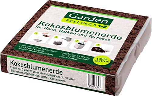 Garden Feelings® Humus/Kokosblumenerde, 600g ergibt ca. 10L Blumenerde - Kokoserde gepresste Pflanzenerde