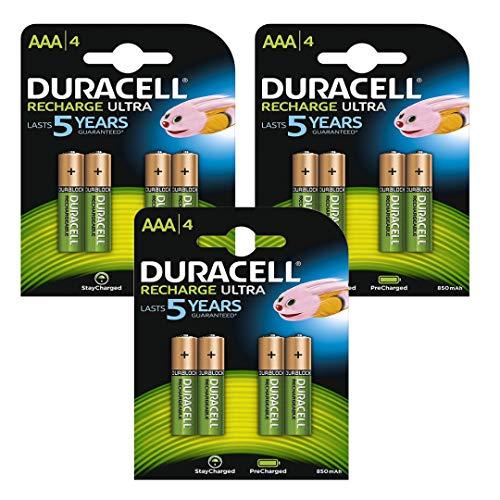 Duracell Wiederaufladbare NiMH-Akkus, AAA, bereits aufgeladen, einsatzbereit, bleiben nach dem Aufladen länger geladen, 850mAh, 1,2V, 12Stück Duracell Pre-charged Rechargeable