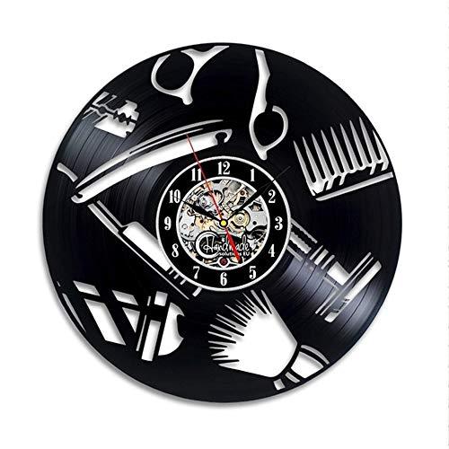 YJSMXYD Reloj De Pared Peluquería Reloj De Pared De Diseño Moderno Decorativo Barbería Peluquería Peluquería Relojes De Vinilo Relojes De Pared Reloj De Decoración para El Hogar