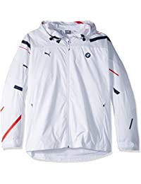 PUMA Men's BMW Motorsport Graphic Logo Woven Jacket, White, L