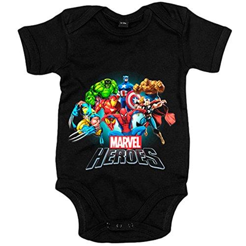 Body bebé Los Heroes de Marvel - Negro, 12-18 meses