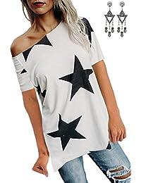 BUOYDM Femmes Top à Manche Court Été T Shirt Hauts Top Imprimé avec Étoiles Casual épaule Nu Tunique Tops