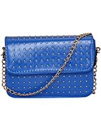 FabSeasons Small PU Blue Color Studded Casual Sling Bag and Cross Body Bag