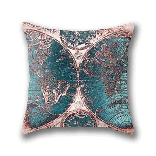 tique World Map Pink Quartz Teal Blue Standard Dekokissen Kissenbezüge Kissenhülle 45X45 cm ()