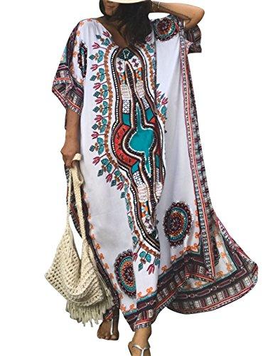 Bsubseach Women White Bathing Suits Cover Up Ethnic Print Kaftan Beach Maxi Dress - White Print Kaftan