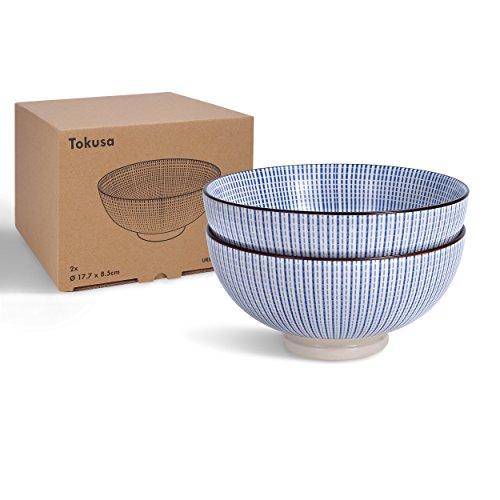 2 x Ramenschale aus Porzellan mit blau / weißem japanischem Tokusa-Muster Nudel-Schale blau / weiß Schale Set Tokusa