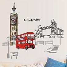 ufengke® Londres Big Ben Torre del Puente Pegatinas de Pared, Sala de Estar Dormitorio Removible Etiquetas de La Pared / Murales