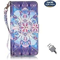 Aireratze Funda Galaxy S7,Funda Cover Galaxy S7, Case de Estilo Billetera Carcasa Libro de Cuero,Carcasa PU Leather para Samsung Galaxy S7 (Flor Purpura)(Cable USB)