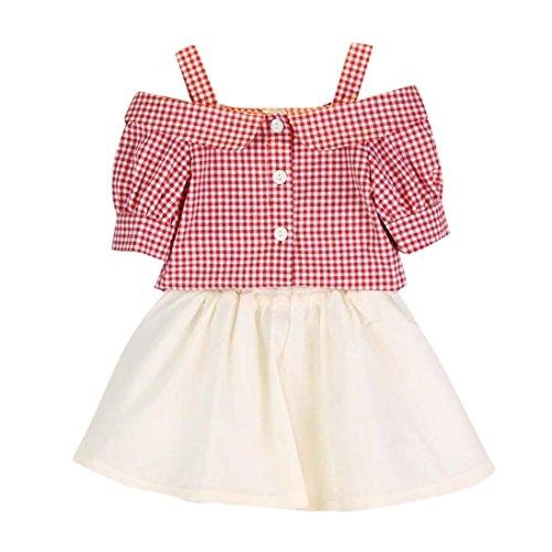 Igemy-2PCS-Kleinkind-Baby-Kinder-Mdchen-Outfit-Kleider-Plaid-Kurzarm-T-Shirt-Rock-Set