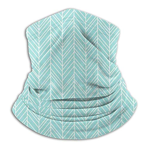 Zcfhike Herringbone Feathers Light Teal UV Face Mask Soft Windproof Keep Warm Moisture Wicking Winter Microfiber Neck Warmer 30×25cm -