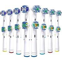 Vibeey 16Recambios Cepillo para Braun Oral B, 4 Tipos de Cabezales de Cepillo de Dientes: 4 Cross, 4 Precision, 4 Floss y 4 3D White,Cabezales de Cepillo para Cepillos de Dientes Eléctricos Oral B