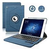 Custodia per tastiera iPad 9.7 2017, Dingrich 360 gradi Rotazione Custodia Smart Cover in pelle con tastiera Bluetooth wireless rimovibile per iPad New 9.7 Tablet (Dark Blue)