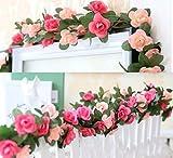 LumenTY 2er-Packung 2.5 m künstliche Rosenreben künstliche Blumen Rattan Blumengirlande für Ihr Zuhause Hochzeiten Garten Geburtstag Feierlichkeiten zur Simulation Girlande Dekoration - Rosa