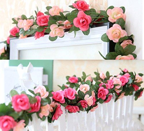 Lumenty - ghirlanda di rose rampicanti artificiali per casa, matrimoni, giardini, feste di compleanno e decorazioni varie, colore: viola chiaro e scuro (confezione da 2), pink, rosa
