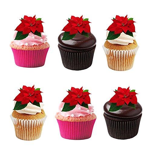 24 rote, Winter, Weihnachtssterne, Blume, essbar, Waffelpapier, Kuchendeko, Dekorationen. (Dekorationen Essbare Blumen)